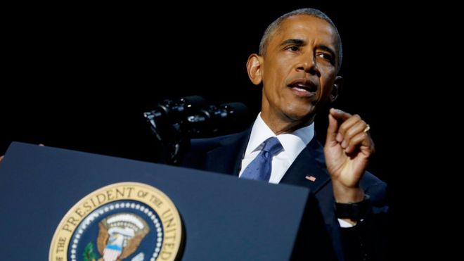 Obama speech: Democracy needs you : outgoing president