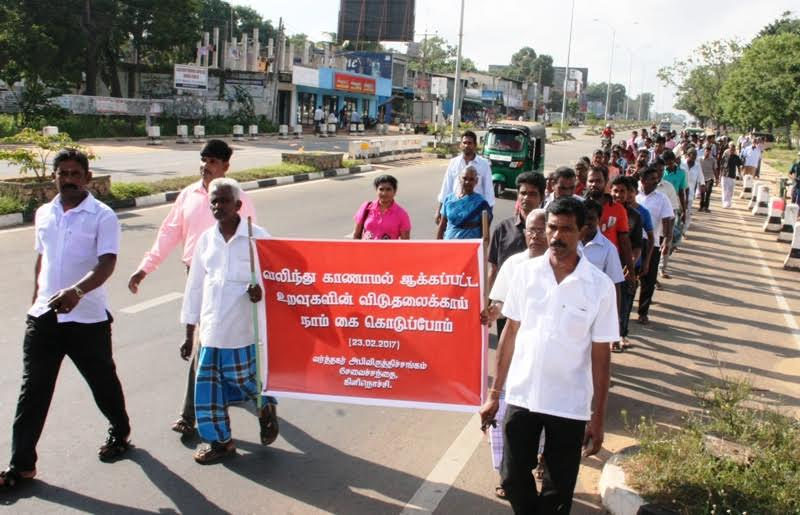 Kilinochchi Market shop owners close their shop and go in procession to support two struggles