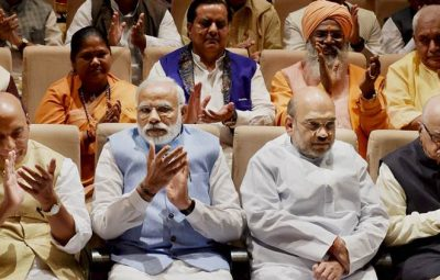 New Delhi: Prime Minister Narendra Modi, Home Minsiter Rajnath Singh, BJP President Amit Shah and senior BJP leader L K Advani during the BJP Parliamentry party meeting at PLB building at Parliament house in New Delhi on Thursday. PTI Photo by Vijay Verma (PTI3_16_2017_000127A)