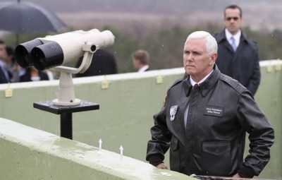 "U.S. Vice President Mike Pence looks at the North side from Observation Post Ouellette in the Demilitarized Zone (DMZ), near the border village of Panmunjom, which has separated the two Koreas since the Korean War, South Korea, Monday, April 17, 2017. Viewing his adversaries in the distance, Pence traveled to the tense zone dividing North and South Korea and warned Pyongyang that after years of testing the U.S. and South Korea with its nuclear ambitions, ""the era of strategic patience is over."" (AP Photo/Lee Jin-man)"