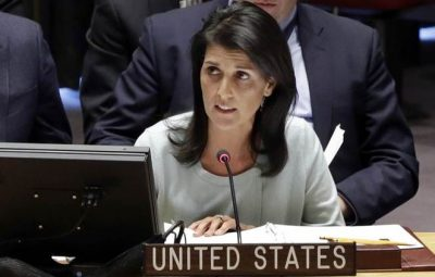 The new U.S. Ambassador to the U.N. Nikki Haley, addresses a Security Council meeting of the United Nations, Thursday, Feb. 2, 2017. (AP Photo/Richard Drew)
