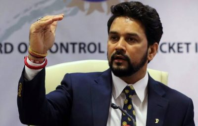 FILE PHOTO: Anurag Thakur, newly-elected president of Board of Control for Cricket in India (BCCI), gestures during a news conference in Mumbai, India May 22, 2016. REUTERS/Shailesh Andrade/File Photo