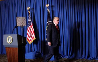 U.S. President Donald Trump leaves after delivering a statement about missile strikes on a Syrian airfield, at his Mar-a-Lago estate in Palm Beach, Florida, U.S., April 6, 2017. REUTERS/Carlos Barria