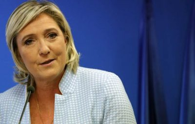 French far-right leader Marine le Pen makes a statement on the presidential election in the United States of America, Wednesday Nov. 9, 2016 in Nanterre, outside Paris. A French outsider with an anti-system agenda, far-right leader Marine Le Pen, is a candidate in France's spring presidential elections. (AP Photo/Christophe Ena)