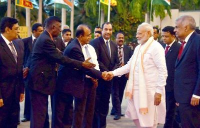 Colombo :  Prime Minister Narendra Modi being seen off on his departure from Colombo, Sri Lanka on Friday.PTI Photo/pib(PTI5_12_2017_000215B)