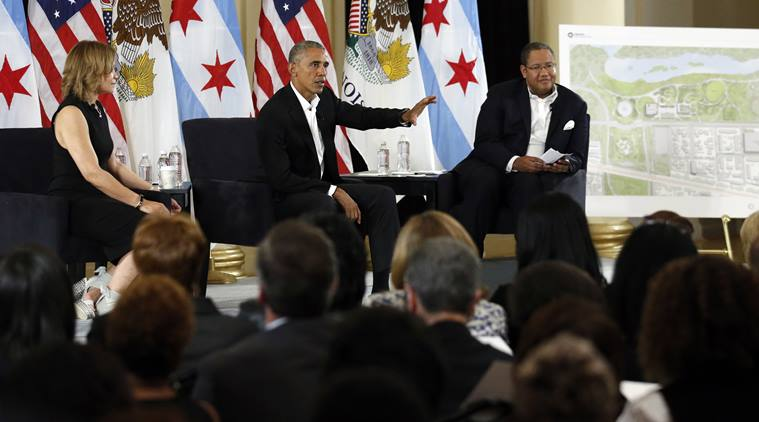 Former President Barack Obama speaks at a community event on the Presidential Center at the South Shore Cultural Center, Wednesday, May 3, 2017, in Chicago. The Obama Foundation unveiled plans for the former president's lakefront presidential center, showcasing renderings and a model at an event where former President Barack Obama and first lady Michelle Obama were expected to give more details. (AP Photo/Nam Y. Huh)
