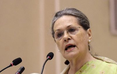 New Delhi: Congress President Sonia Gandhi speaks during the Indira Gandhi Centennial Lecture, organised on the occasion of the birth anniversary of  Former Prime Minister Indira Gandhi,  at Vigyan Bhavan in New Delhi on Saturday.PTI Photo by Manvender Vashist(PTI11_19_2016_000257A)