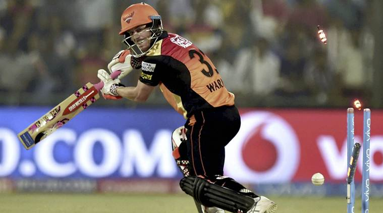 New Delhi: Sunrisers Hyderabad batsman David Warner is bowled out during the IPL match against Delhi Daredevils in New Delhi on Tuesday. PTI Photo by Shahbaz Khan (PTI5_2_2017_000232B)