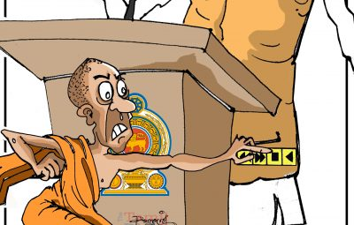 Cartoon sri lanka gov and buddhists monks (1)