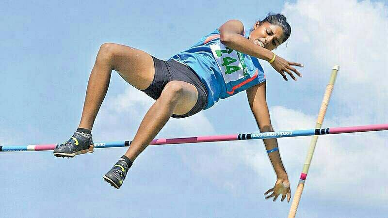 Anitha claims new  record  in Pole vault at the 43rd National track and Field Sports festival