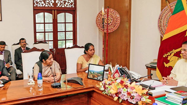 Sushma assures India's fullest support to Sri Lanka's government