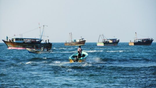 Indian Trawlers anchored along Kiranchi Coast. 70 Local fishermen deprived of their livelihood