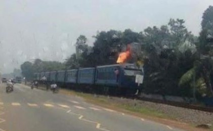 Intercity train catches fire on it way to Jaffna