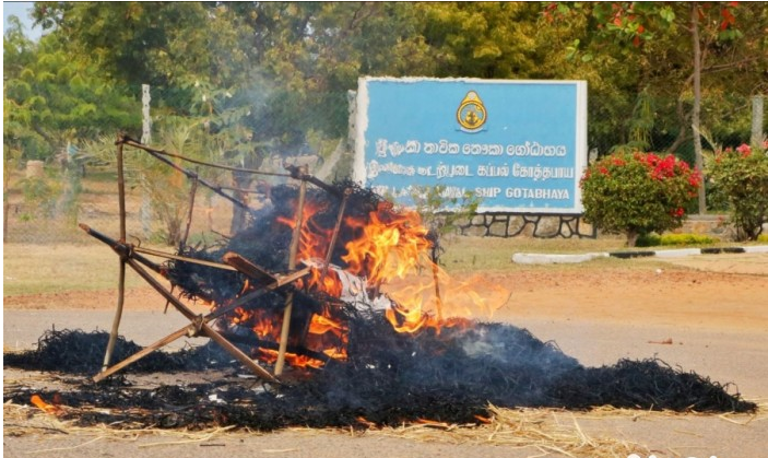 Effigy of Good Governance Government burned in front of Vadduvagal Navy Camp