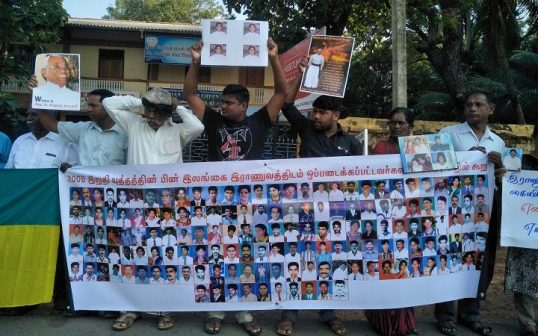 ITAK office in Jaffna, under siege of Relatives of the Missing, yesterday