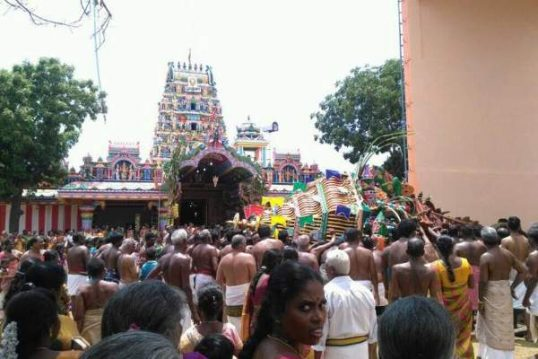 Karainagar Temple Chariot topples, no casualty