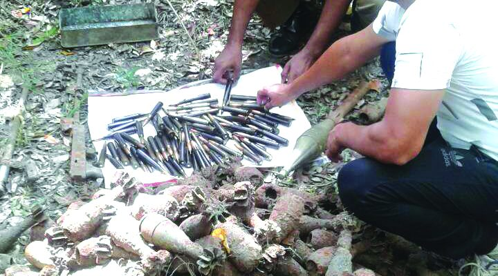 A lot of explosives including 737 nos. 60mm shells recovered from a jungle area in Mullaitheevu