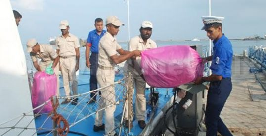 Packet with 17.6 Kg Ganja recovered in seas off Point Pedro
