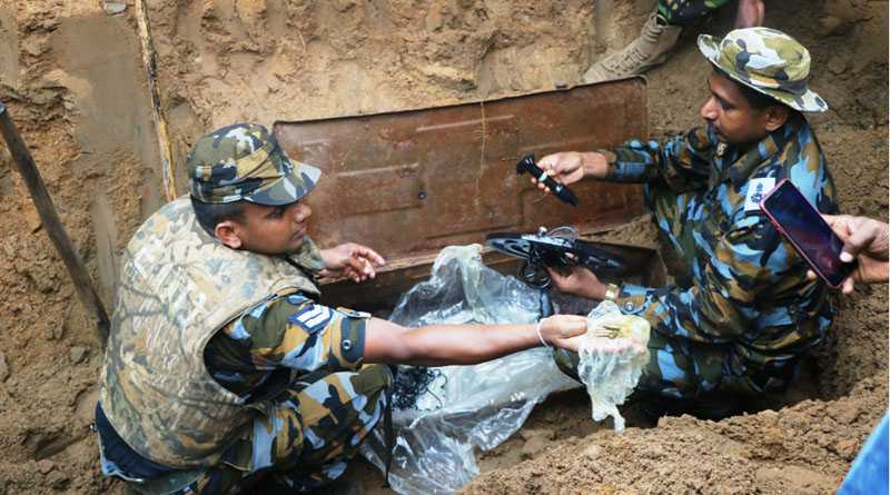 Explosive detector excavated from the land of former militant in Tharmapuram.