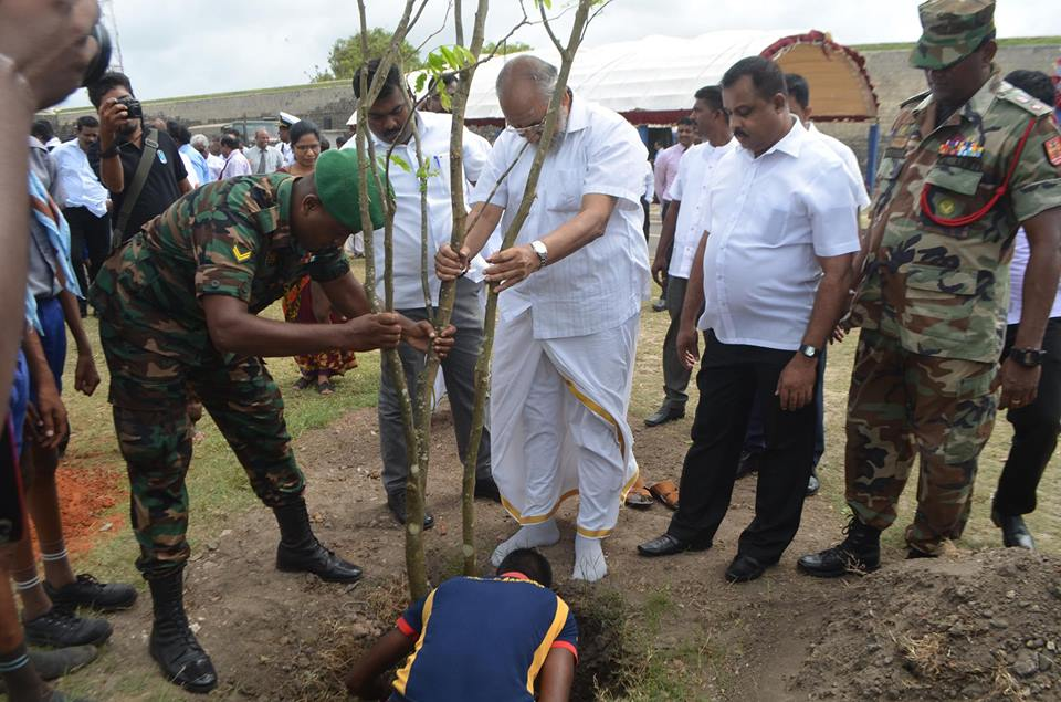 Tree Planting in Jaffna with the contribution of the Army, contravening the Jaffna Municipal Council resolution