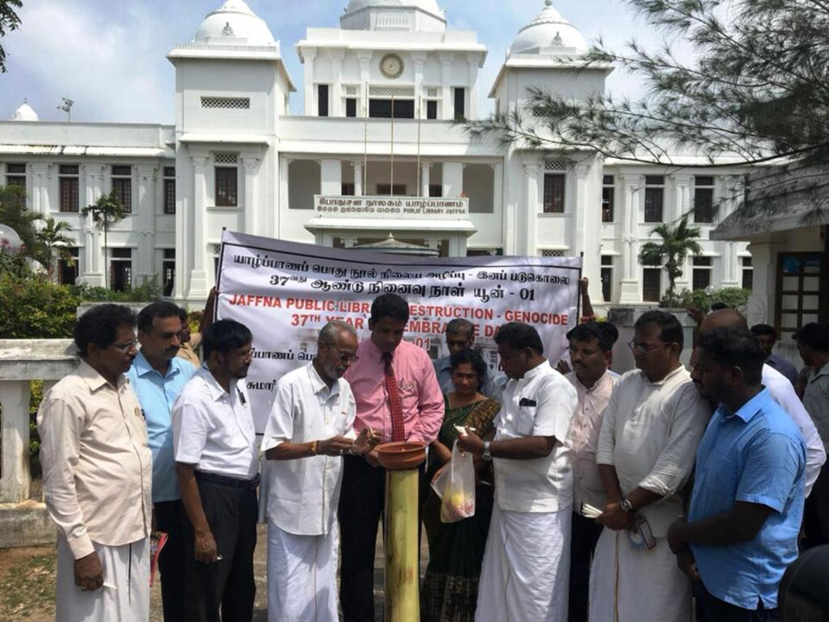 Scorching of the Jaffna Library, part of the Genocide , says Jaffna Mayor Arnold