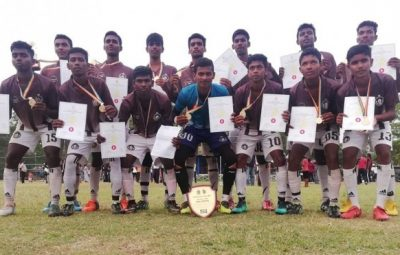 Mahajana Under 20 team crowned as champions in National School Foot Ball 1