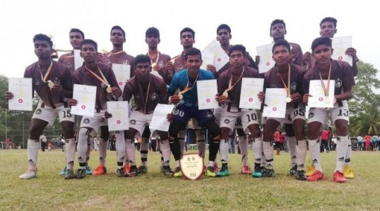 Mahajana Under 20 team crowned as champions in National School Foot Ball