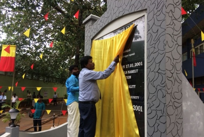 Renovated Pongu Thamizh memorial tower declared open yesterday at University of Jaffna