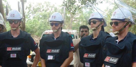 England Cricket Team switch on to de-mining at Periyamadu