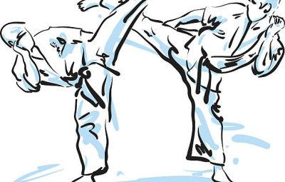 karate fighters, vector illustration