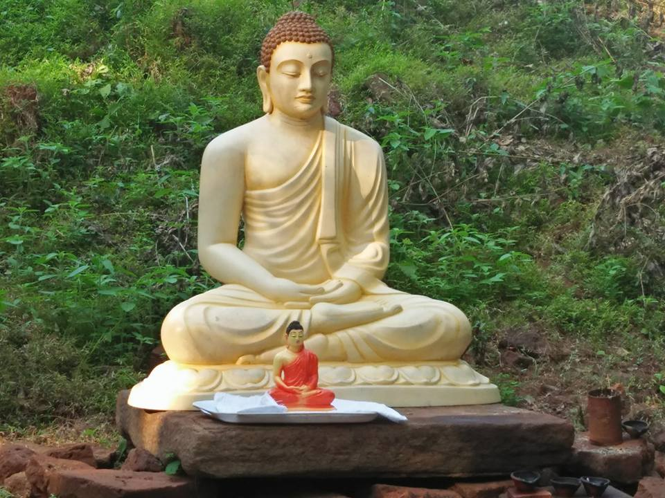 Jungle destroyed Buddha statue placed in the Vavuniya Ootukulam Tamil village