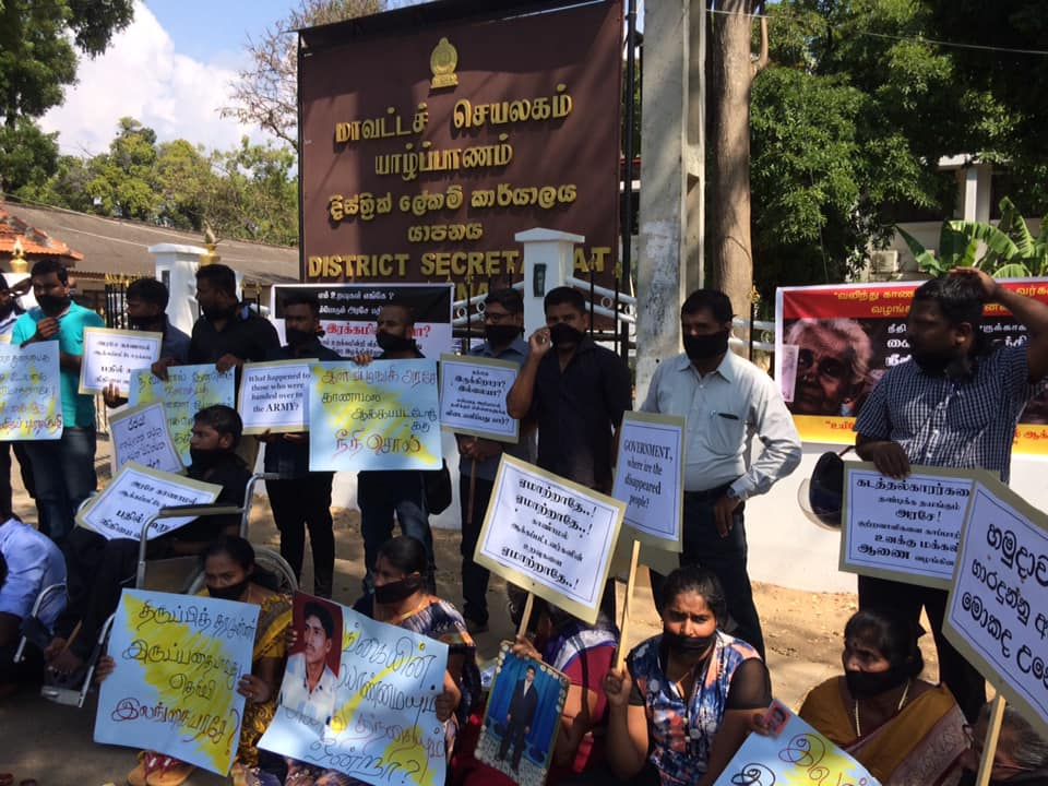 Protest struggle with black Arm bands demanding justice to Missing persons in Jaffna