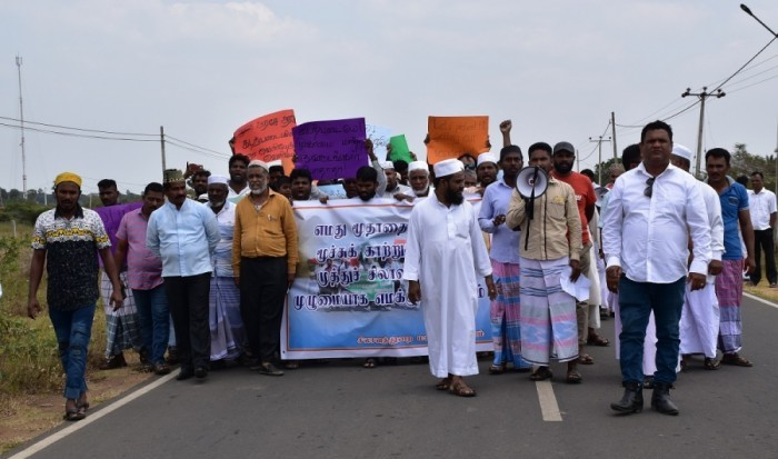 People demonstrate in Silavathurai demanding to expel Navy from their land