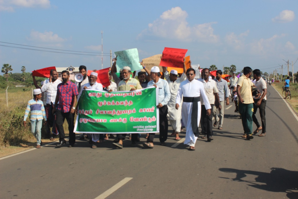 People demonstrate in Silavaththurai demanding removal of Navy from their lands