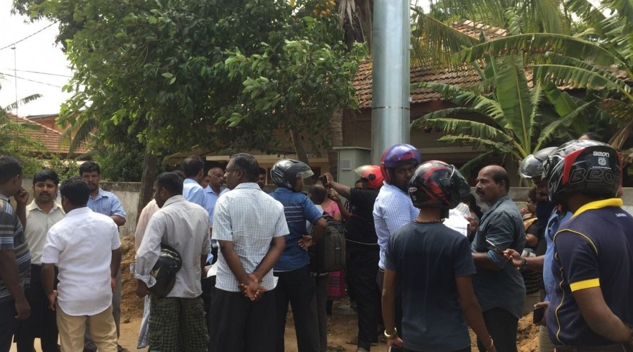 People protest against construction of High Tech towers in Jaffna residential areas by JMC