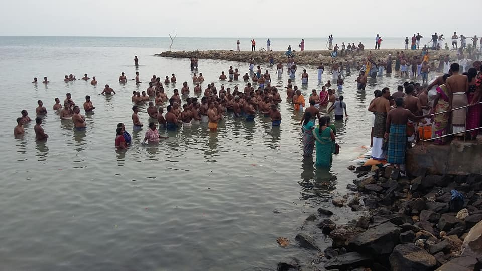 People in their thousands congregated to observe obsequies to their fathers at Keerimalai beach