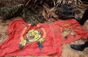 LTTE uniforms and Tiger flags recovered buried