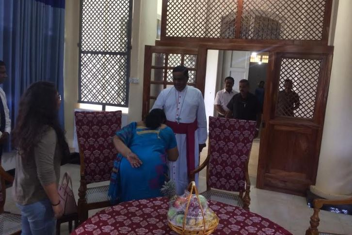 Governor Charles meets the Jaffna Bishop for the first time after assuming duties