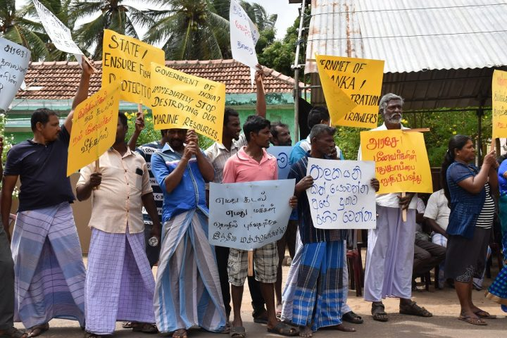 Attention drawing struggle in Mannar calling Indian Government to stop destruction of Marine resources of Sri Lanka